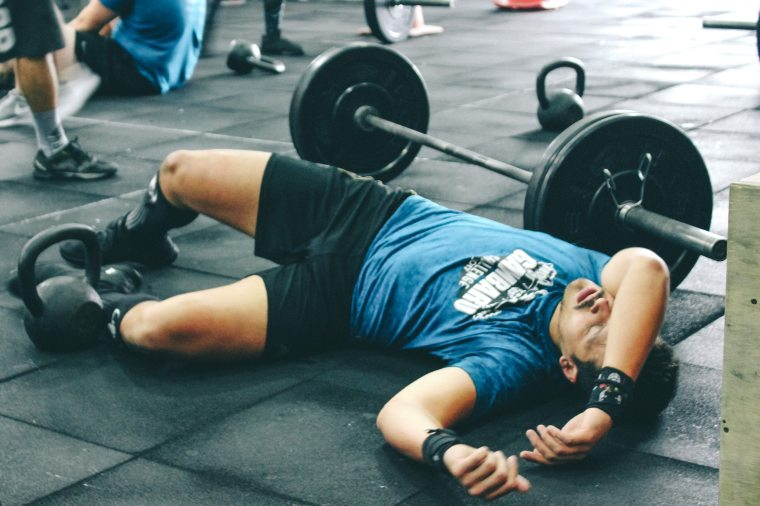 Tired from lifting weights